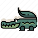 alligator, amphibian, animal, crocodile, predator, reptile, zoo icon