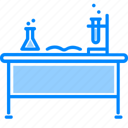 chemistry, experiment, flask, lab, lamp, research, table icon