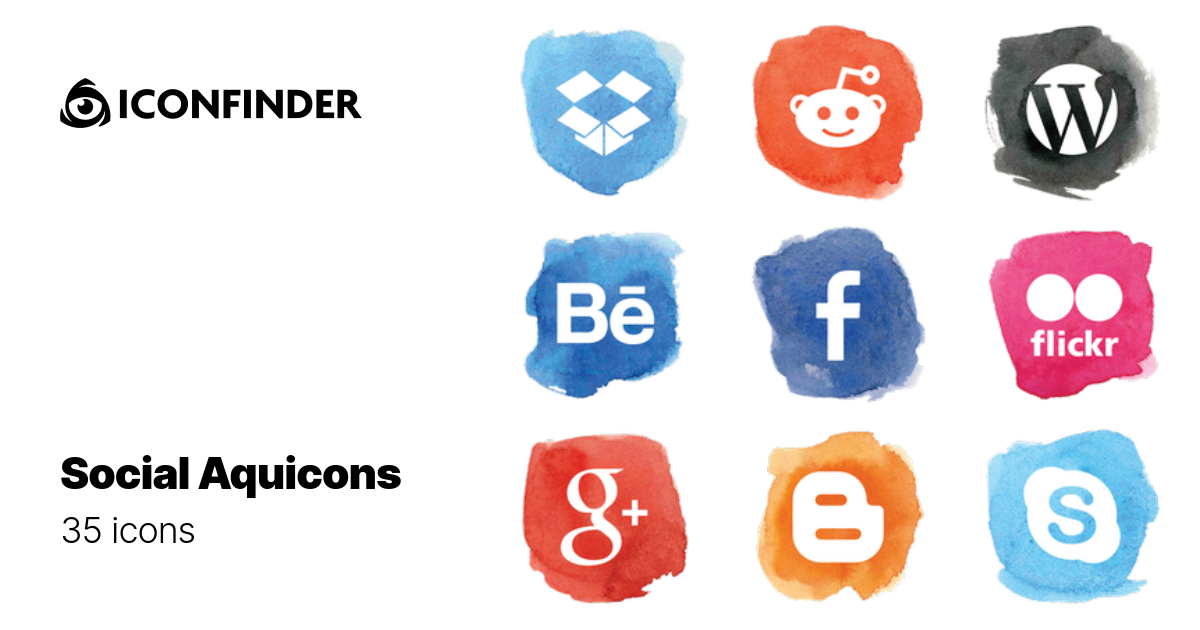 Social Aquicons by Lanan Illustration