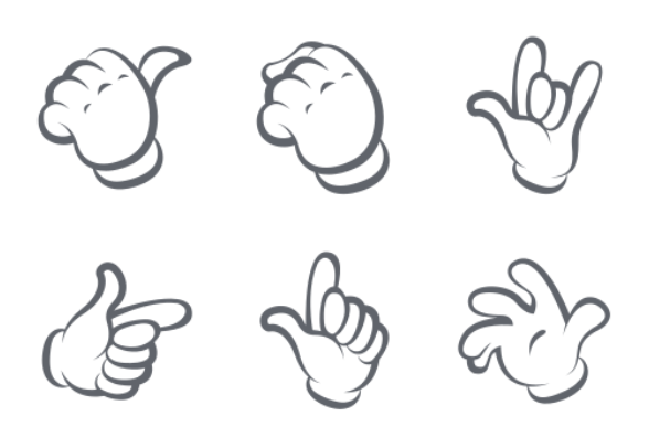 cartoon hand gestures icons by pixelweed
