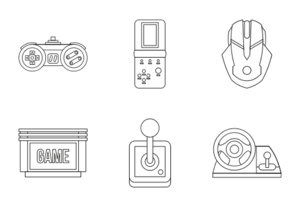 Video Game Outline Icons By Ivan Ryabokon - Video game outline