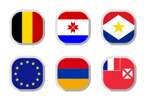 50 Flags of the world, rounded square shape