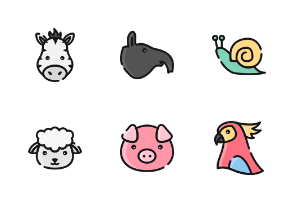 Animal Face With Outline And Color Iconset