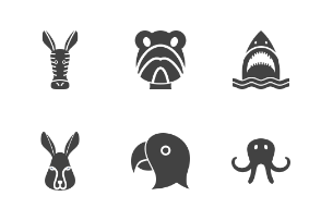 Animal Faces Glyph Black