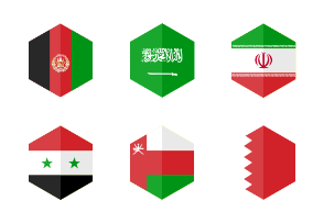 Asia Middle East and Australia Flag Icons. Hexagon Flat Design.