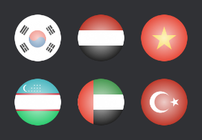 Asian glossy flags