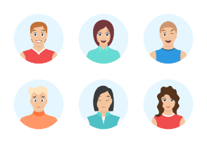 Avatar with different facial expressions. Emotion faces. Different hairstyle.