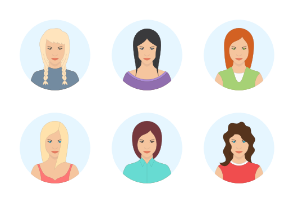 Beautiful and sexy women avatar with different hair styles. High quality vector illustration