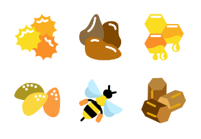 Beekeeping products in glyph colorfull style
