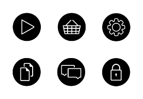 Black round web icons