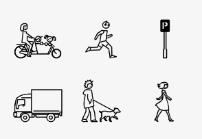 Cars, bicycle & pedestrians