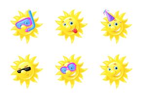 Cheerful Sun Emoticons