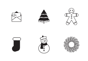 Classic Christmas elements in black and white