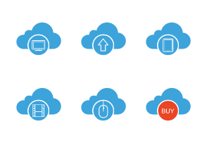 Cloud computing. Glyph. Silhouettes