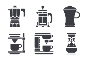 Coffee Shop and Brewing Glyph Set
