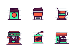 Coffee shop Items Filled Outline