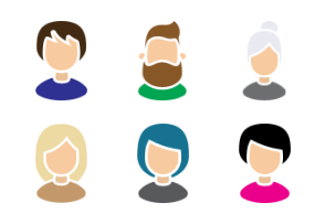 Color profile pictures with different haircuts