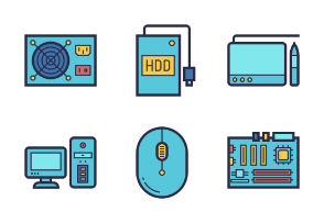 Computer Hardware and Accessories Filled Outline Style