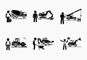 Construction Vehicles and Workers