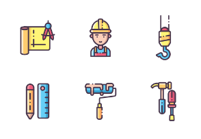 Construction Worker and Building