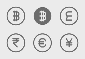 Currencies - Active and non-active icons