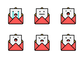 Cute Envelope Emoji In Different Expressions
