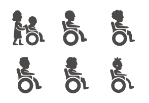 Disabled and immovable people in different ages and gender