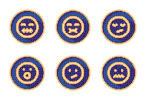 Emoji colourful dotted shadowed badges