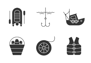 Fishing supplies. Glyph. Silhouettes