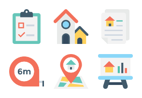 Flat Real Estate Icons 1
