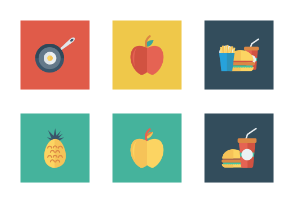 Food and Drinks Flat Square vol 1