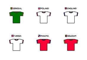Football Soccer World Cup Jerseys Russia 2018 — Filled Oultine