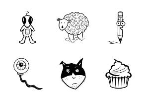 Funny Line-Drawing Cartoon Set