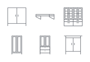 Furniture line icons set 2