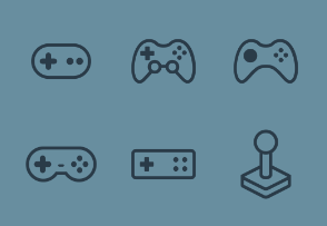 Gamers World - Line icons collection of Gamepads