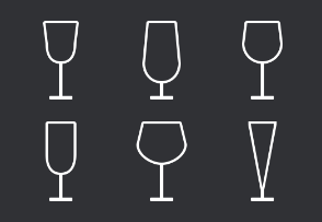 Glasses for wine and champagne