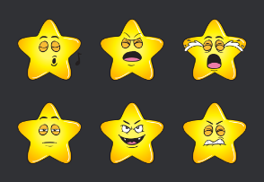 Gold Star Emoji Cartoons