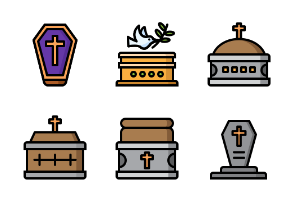 Halloween Tombstone and Coffin - Color