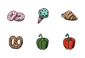 Hand drawing food