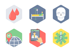 Hexagon Medical Flat Icons part 3