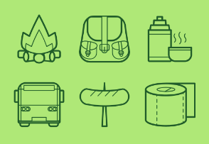 Hiking / Tourist Iine icon set