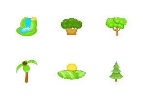 Landscape icons set, cartoon style