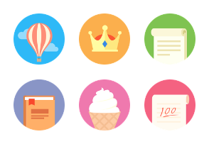 Learning and Entertainment flat Icons