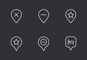 Map and Location Thinline Icons Set