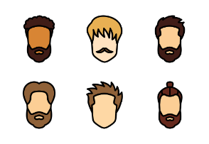 Men's hairstyles (Filled Outline)