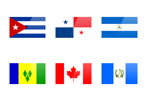 North american rectangular flags with spotlight