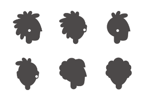 People heads in different ages and gender, glyph styled