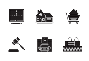 Real estate. Glyph. Silhouettes