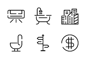 Real Estate Iconpack with Line Style for Business Apps / Web