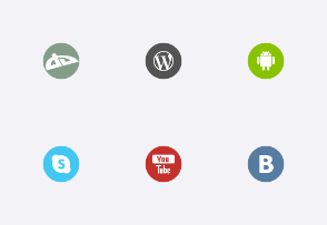 Round Simple Social Icons